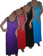 LADIES LONG MAXI SELEEVELES KAFTAN DRESS - HAND STITCHED NECKLINE EMBELLISHMENT