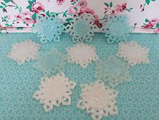 Congelato glitter bianco blu fiocchi di neve Cameo titolari piana RESINA EPOSSIDICA cupola base