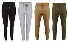 Garçons Homme Motard Zip plissé rembourré Survêtement Polaire Pantalon Slim Fit revers bas