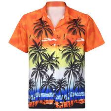 Mens Hawaiian Shirt Turn-down Neck Front-Pocket Beach Floral Blouse Tops Tee HOT