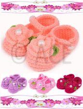 Baby Girls Infants Handmade Woollen Knit Crochet Shoes Pearl Flower 0-9 Months