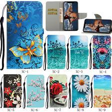 Flip Patterned PU Leather Wallet Card Pocket S lot Stand Strap Case Cover Bumper