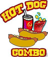 "Hot Dog Combo Decal 14"" Hotdog Concession Cart Food Truck Restaurant Sticker"