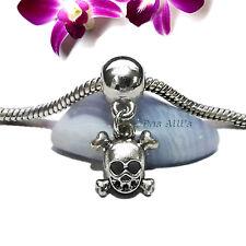 """Silver """"Friday The 13th Jason"""" Cross Bones Skull Mask Dangle Charm fits Bracelet"""