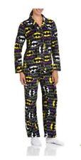 Womens Batman Long Sleeve Micro Fleece Notched PJ Pajama Set Large XL 2XL