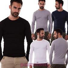 Maglia UOMO maglietta girocollo maniche lunghe sottogiacca basic nuova 903