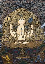 Black Chenrezig with Dragon Thangka Painting 26x21 CM