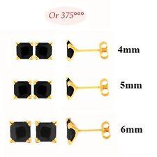 Boucles d'Oreilles Puce Onyx 4, 5 ou 6 mm Carré Or Massif 9K
