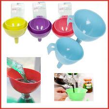 2 Funnel Kitchen Oil Strainer Liquid Spout Pipe Fluid Pourer Car Van Lab Filter