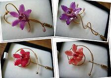 BROCHE CON Auténtico Orquídea Resina REVESTIDO Flores Broche dorado oro