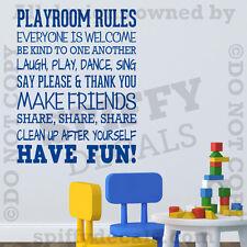 Playroom Rules Nursery School Fun Share Quote Vinyl Wall Decal Decor Sticker V2