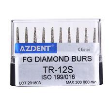 US 10pcs/box Dental High Speed Diamond Burs Cone Round Head TR-12S AZDENT