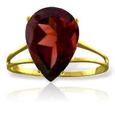 Genuine Red Garnet Pear Cut Gemstone Solitaire Ring 14K Yellow, White, Rose Gold