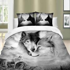 3D Wolves Duvet Cover Set Pillowcases Queen King Size Bedding Set Animal HD New