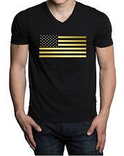 Men's Shiny Gold Us Flag V-Neck Black T Shirt American Usa America Active Tee