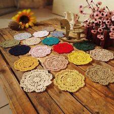 Lovely Coasters Handmade Crochet Cotton Flower Mug Doilies Tea Cup Pad Doily Mat