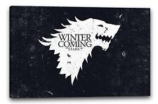Lein-Wand-Bild: Game of Thrones Winter is coming weiss und schwarzer Hintergrund