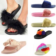 Sliders Furry Satin Bow Bestseller Comfort Summer Slipper Holiday Sandals Sale
