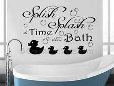 Bathroom Wall Sticker Quote, Splish Splash with Bubbles and Ducks