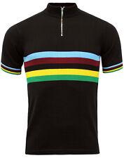 Nueva Inglaterra Madcap Mod 70s 60s para hombre Velo Arco Iris Rayas Ciclismo Top: Negro MC334
