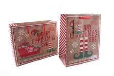 Rouge Marron Elfe Père Noël Joyeux Réveillon Sac Boite 26cm X 33cm 2 Modèles