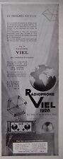 PUBLICITÉ 1928 RADIOPHONE VIEL LE PROGRÈS EN TSF ÉCOUTEZ LE MONDE ENTIER