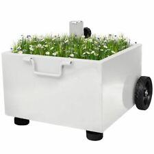 vidaXL Parasolvoet met Plantenbak Wit Parasol Voet Standaard Planten Bak