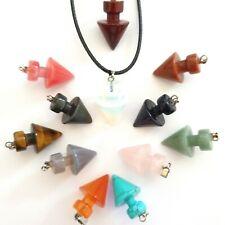 Quartz Pendulum Pendant Crystal Necklace New Age Healing Stone Chakra Yoga UK
