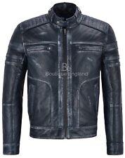 Nuevo Para hombres Cuero Real Italiano Navy Vintage Retro de acción valiente Biker Jacket 1106