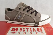 Mustang lino Zapatos De Cordones Zapatillas Bajo Gris Tierra, suela goma 1209