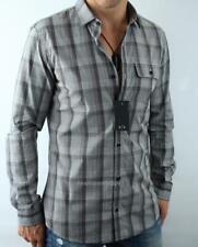 Armani Exchange A|X Mens Slim Button Front Plaid Checkered Cotton Shirt