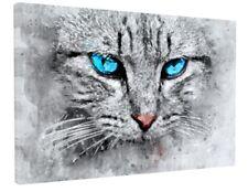 STUNNING GREY HOUSE CAT KITTEN ANIMAL BLUE EYES CANVAS PICTURE PRINT #3073