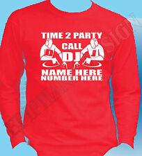 Dj Camiseta Larga Manga Personalizado Nombre Número Disc Jockey Mobile Dj T-Shirt