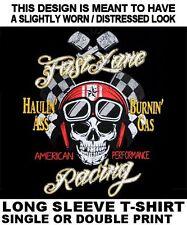FAST LANE RACING HAULIN' ASS BURNIN' GAS HOT RAT ROD SKULL BIKER T-SHIRT 598