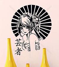 ANIME Geisha Oriental Girl Japan MANGA Japanese Decor Vinyl Wall Sticker Decal