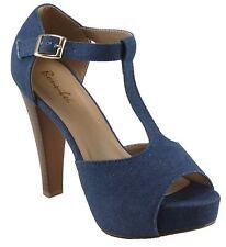 Bonnibel Women's Kylee-3 Denim Platform T-strap Peep-toe Chuncky Heels