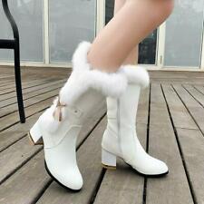 Womens Fashion  Fur Lined Fur Trim Metal Decor Mid Calf  Winter Boots Shoes BGHE