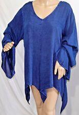 Jennifer Lauren Women Plus Size 1x 2x 3x Indigo Blue Asym Tunic Top Blouse