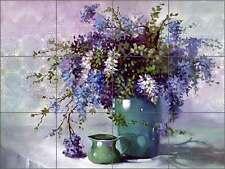 Ceramic Tile Mural Backsplash Davenport Wisteria Flowers Floral Art POV-WDA002