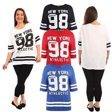 New Ladies Baseball Stripy 98 newyork Over Size T shirts 12-26