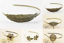 Haarreif Tiara Diadem Feder Blume antik bronze Vintage Retro Haarschmuck A210