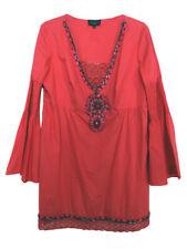 LUISA SPAGNOLI Coral Red Embellished Tunic Dress BNWT