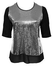 Womens 16-26 Glitzy Silver Sequin Stretch Tunic Top Black Georgette Hem Ladies