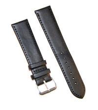 Bracelet de Montre Noir Remplacement Simili Cuir 12-14-16-18-20-22-24 mm