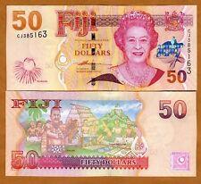 FIJI, 50 dollars, 2007, P-113, QEII, UNC