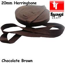 "BROWN 20mm 4/5"" inch Herringbone Tape Cotton Trim Strap Apron Upholstery Twill"