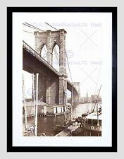 85181 BROOKLYN BRIDGE EAST RIVER NEW YORK BLACK Decor WALL PRINT POSTER CA