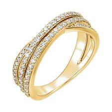 Diamond Criss Cross Ring 14K Yellow or White Gold