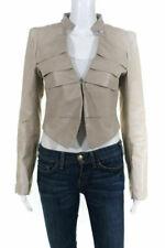 Noora New Women Lambskin Leather Cropped Beige Jacket Modern Basic Stylesh QD269