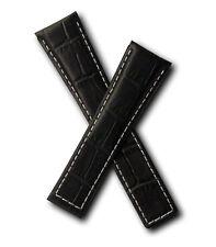 Negro crocodile-style Reloj strap/white Costura para adaptarse a Tag Heuer Targa Florio